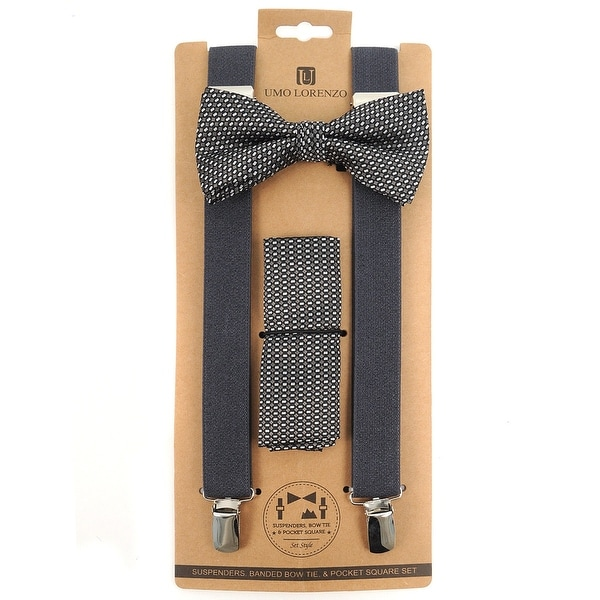 3pc Men's Charcoal Banded Suspenders, Geometric Bow Tie and Hanky Sets - One Size Fits most