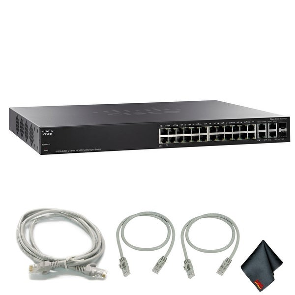 Cisco 24-Port 10/100 Max PoE Managed Switch with Extra Cat5 Cables (1-Pack)