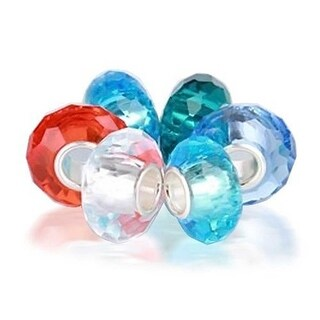 Bling Jewelry Set of Six Bundle Multicolored Faceted Murano glass Bead Charm .925 Sterling Silver