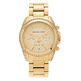 Michael Kors Women's MK5166 'Blair' Goldtone Stainless Steel Crystal Bezel Chronograph Bracelet Watch