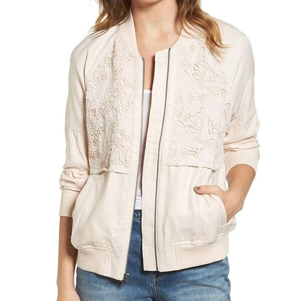 Hinge Women's Small Front Zip Lace Panel Bomber $99