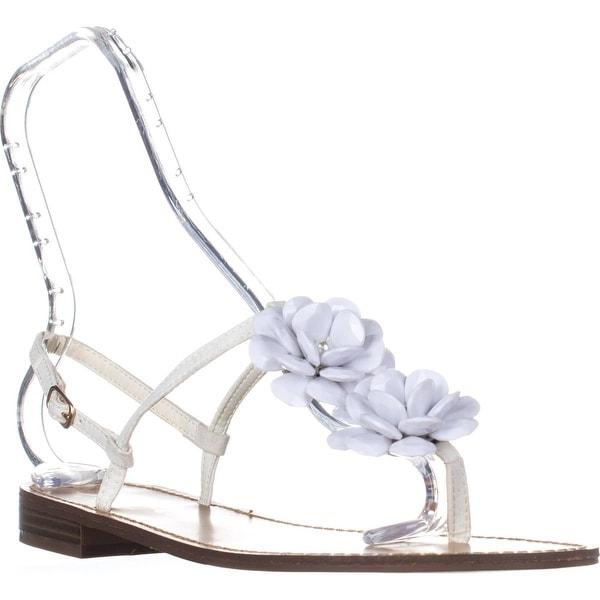 callisto Poli T-Strap Flower Sandals, White