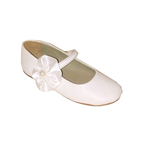 fd3b136673 Pazitos Girls Ivory Satin Pearl Flower Adorned Mary Jane Shoes - 2
