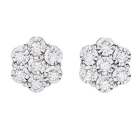 ColorStar Sterling Silver 1ct Round Diamond Cluster Stud Earrings - White