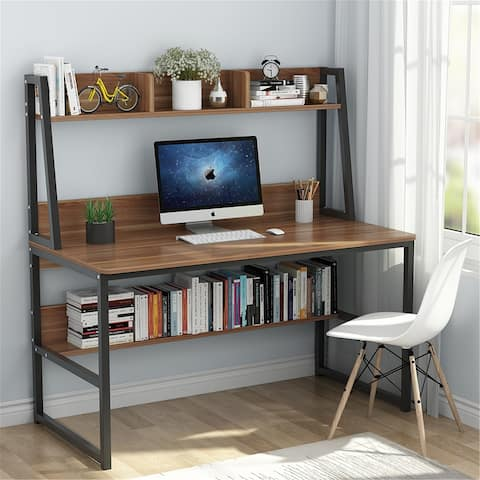 """47"""" Computer Desk with Hutch and Bookshelf"""
