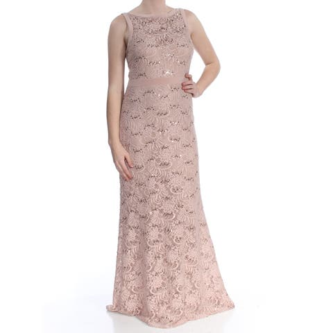 eff2fe4ba60 NIGHTWAY Womens Beige Sequin Lace Train Gown Sleeveless Halter Full-Length  Sheath Formal Dress Size