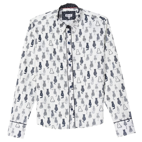 6f01e838d Shop What on Earth Women's Cat Print Oxford Top - Black & White Button Down  Shirt - Free Shipping On Orders Over $45 - Overstock - 23115976