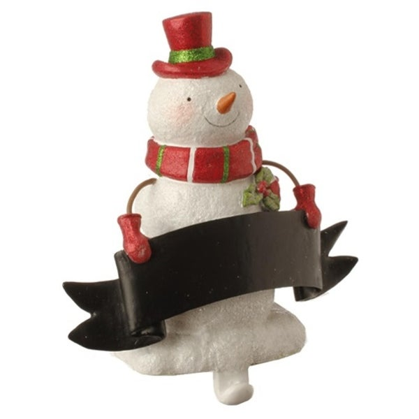 """8.5"""" Red and White Glitter Snowman Stocking Holder with Chalkboard Banner Christmas Decoration"""