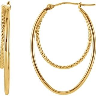 14k yellow gold 14mm oval double hoop earrings