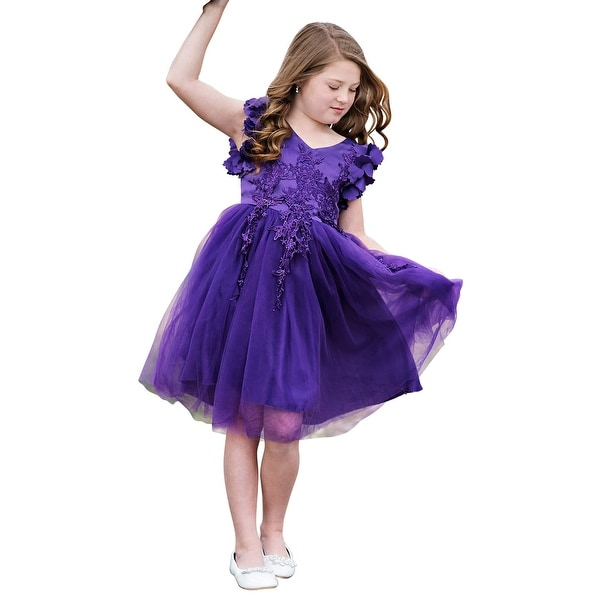 901440f3608 Shop Just Couture Girls Purple Petal Sleeve Satin Junior Bridesmaid Dress -  Free Shipping Today - Overstock - 23079863