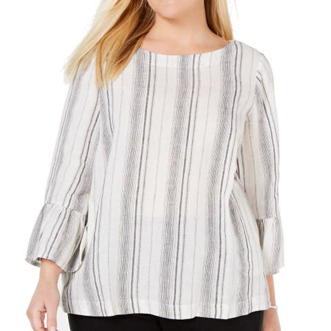 Charter Club Women's Top White Size 3X Plus Knit Striped Bell Sleeve