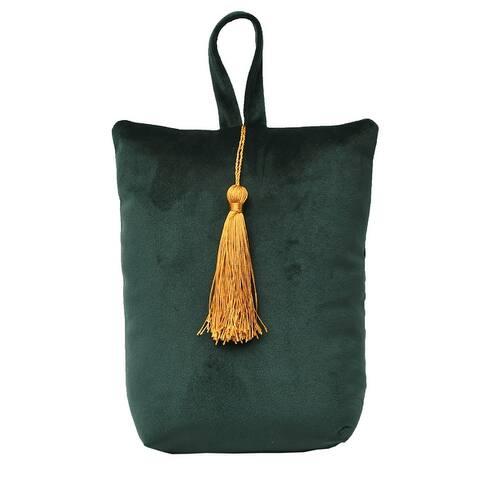 """Velvet Fabric Bag Door Stop Interior Weighted Floor 2.2 lbs - 6""""L x 4.6""""W x 8""""H"""