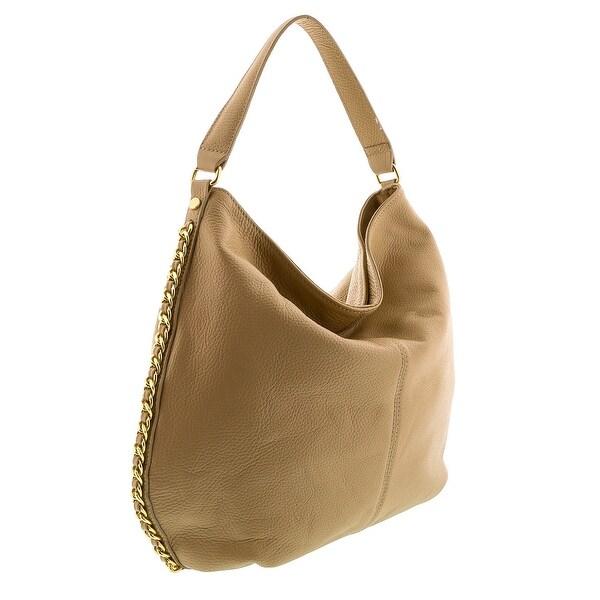 HS2015 VOLETA Taupe Leather Hobo Shoulder  Bag - 14-13-3.5