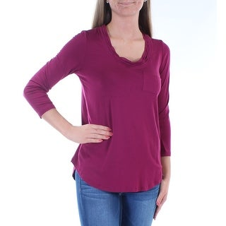 Womens Burgundy Long Sleeve Scoop Neck Top Size 2XS