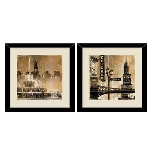 "PTM Images 1-32925 18 Inch x 18 Inch ""Chicago Places"" Two Piece Framed Giclee Art Print Encased In Glass - N/A"