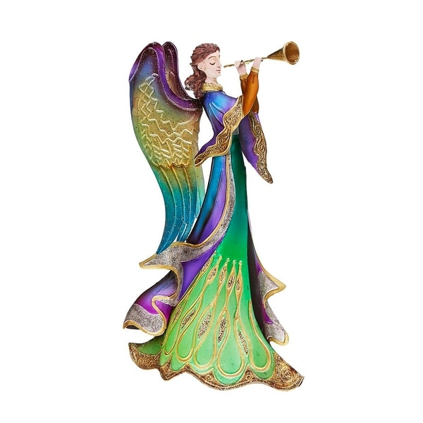 "14"" Regal Peacock Angel with Trumpet Christmas Table Top Figurine Decoration"