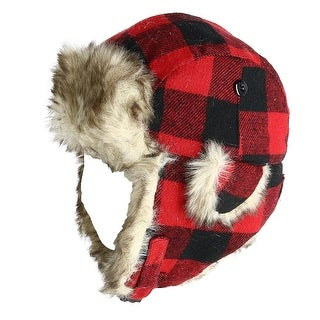 Polar Extreme Wool Blend Buffalo Plaid Aviator Hat