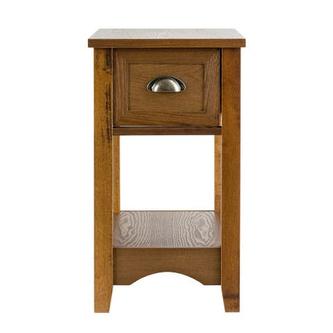Contemporary Chair Side End Table Compact Table with Drawer Nightstand - Yellow