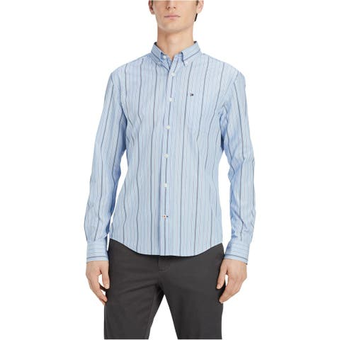 Tommy Hilfiger Mens Classic Fit Striped Button Up Shirt, Blue, Large