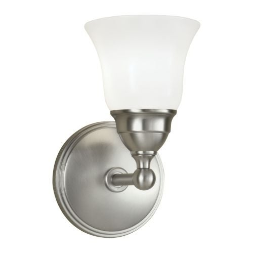 "Norwell Lighting 8581 Sophie 9"" Tall Single Light Bathroom Sconce with White Glass Shade"