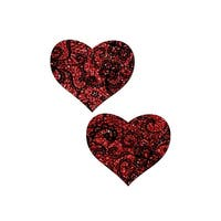 Red Glitter Heart Pasties - Red/black - One Size Fits most