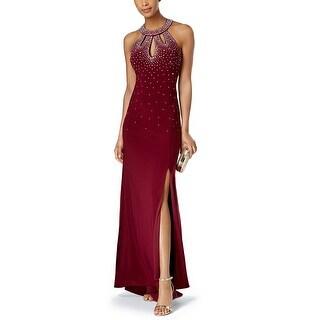 Nightway Embellished Halter Evening Gown Dress - 10