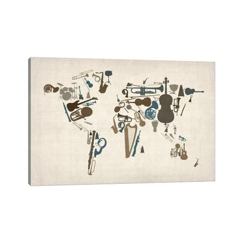 """iCanvas """"Musical Instruments Map of the World"""" by Michael Tompsett Canvas Print"""