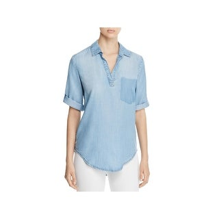 Side Stitch Womens Tunic Top Hi-Low Removed Pocket