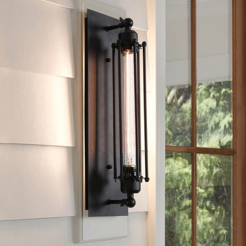 """Modern Black Wire Cage Wall Sconce Lighting for Living Room - W5.5""""x H18.5""""x E5.5"""""""