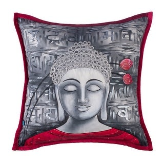 100% Handmade Imported Divine Buddha Throw Pillow Cover, Grey and Red