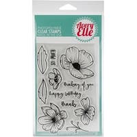 "Avery Elle Clear Stamp Set 4""X6""-Handdrawn Florals"