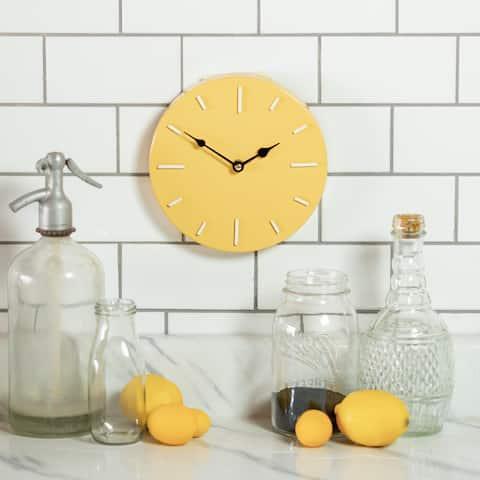 8 inch-Metal Wall Clock,Yellow - 8 x 8 x 1