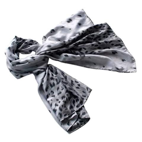 Blancho Silver Leopard Design Elegant Delicately Soft Silk Scarf/Wrap/Shawl(Large)