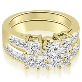 3.35 cttw. 14K Yellow Gold Channel Princess and Round Cut Diamond Bridal Set