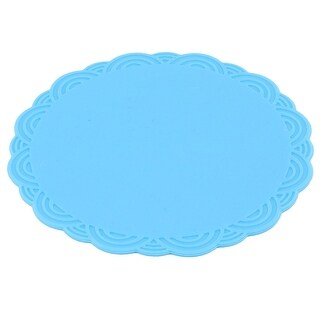 Home Silicone Flower Shaped Heat Resistant Pot Pad Bowl Cup Mat Blue 10.3cm Dia