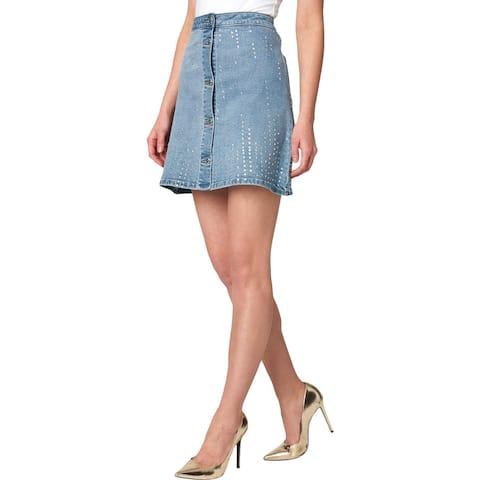 Juicy Couture Black Label Womens Denim Skirt Crystal Embellished