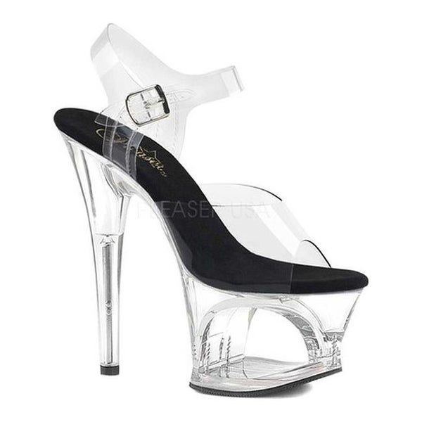 5fcd95617 Shop Pleaser Women s Moon 708 Cut-Out Platform Ankle-Strap Sandal Clear  Black Clear - Free Shipping Today - Overstock - 20371022
