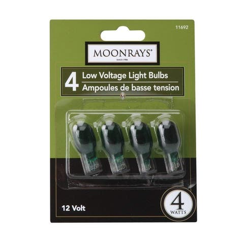 Moonrays 11692 Wedge Base T5 Low Voltage Light Bulb, Green, 4W, 12V, 4-Pack