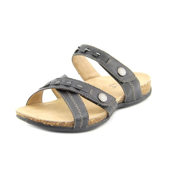 Earth Origins Tamra Women Open Toe Leather Black Slides Sandal