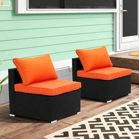 Ainfox 2 Pcs Rattan Sofa Sectional Set