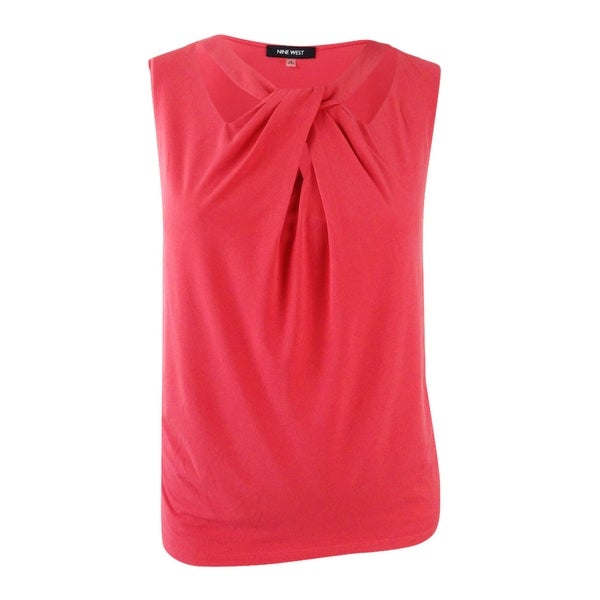 Nine West Women's Plus Size Solid Asymmetric Top (3X, Volcano) - Volcano - 3X