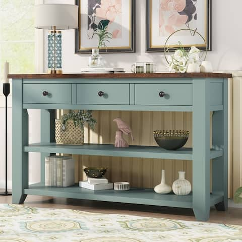 """Nestfair 48"""" Modern Console Table with 3 Drawers and 2 Shelves"""