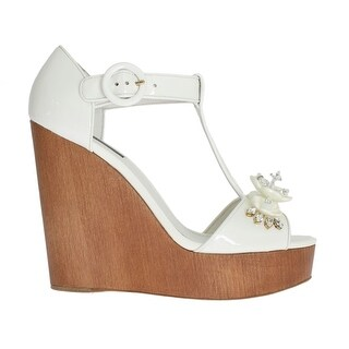 Dolce & Gabbana White Leather Crystal Wedges Sandals