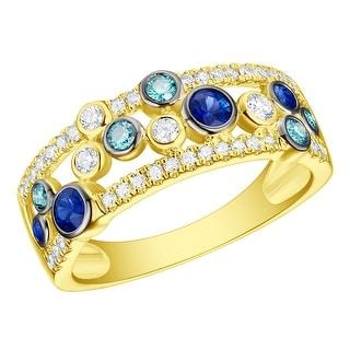 Prism Jewel 0.76CT Blue Sapphire with Blue & White Diamond Wedding Band