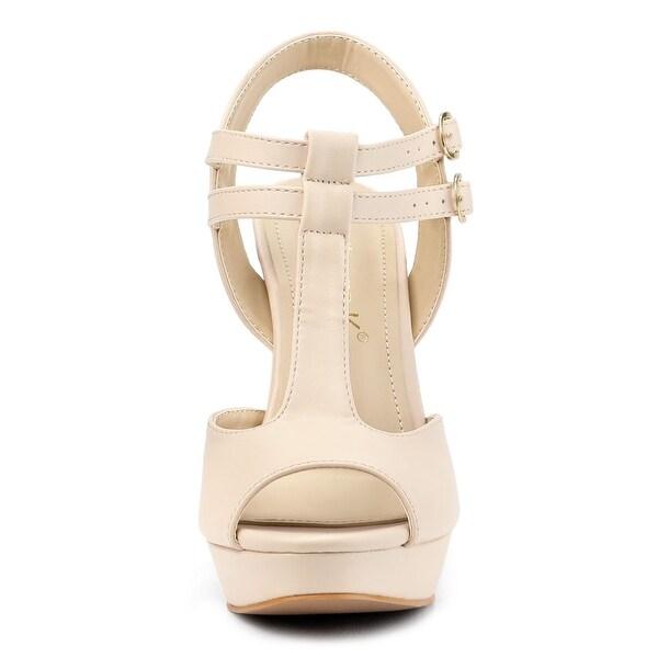 Women high Heel Sandals peep Toe Real Leather Square Heels Sandal Zip Heels Shoes t Strap Shoes