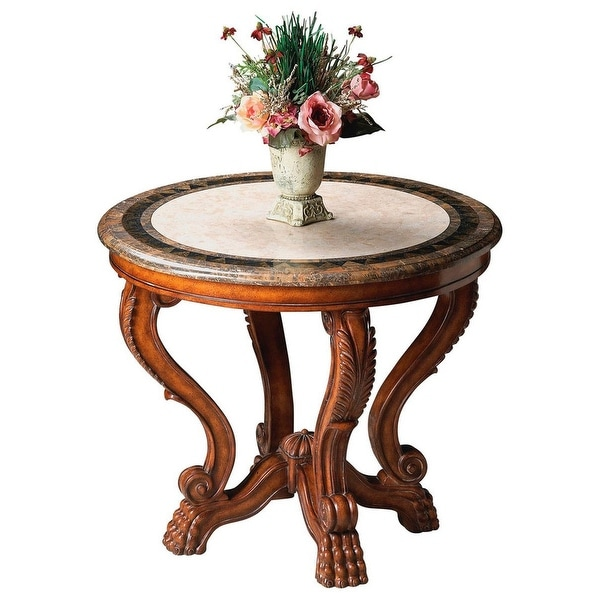 Offex Mabel Fossil Stone Round Foyer Table - MultiColor