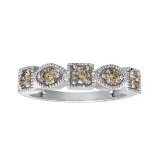 1/2 ct Champagne Diamond Ring in 10K White Gold