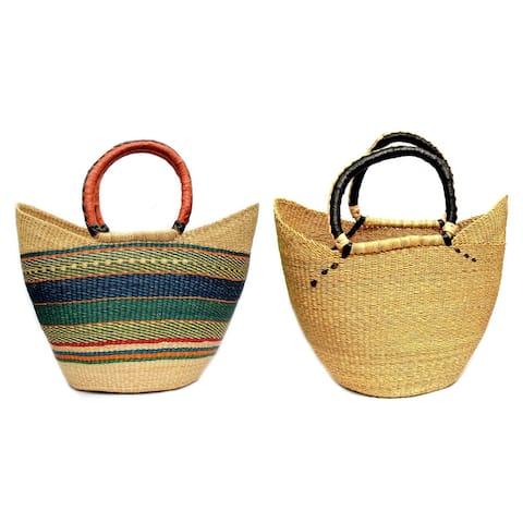 Handmade Bolga Shopper Tote Basket, 18-inch, Natural or Mixed Colors