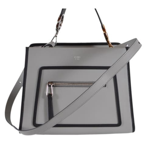 e6b3f7428 Fendi 8BH344 Grey Black Smooth Calf Leather Runaway 2-Way Purse Tote Handbag