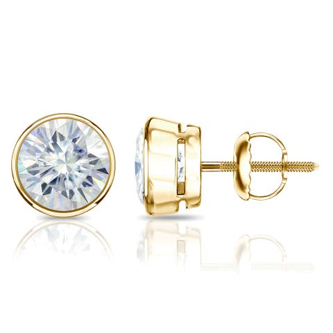 Auriya 14k Gold 1ctw Bezel-set Round Moissanite Stud Earrings - 5 mm